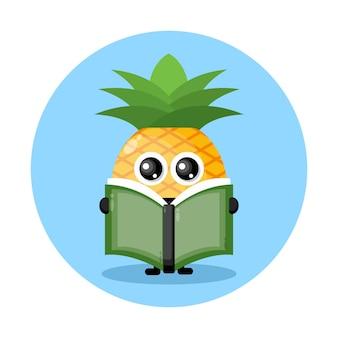 책을 읽는 파인애플 귀여운 캐릭터 로고