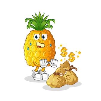 Pineapple refuse money illustration