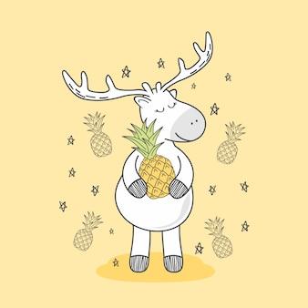 Pineapple reindeer doodle deer cartoon