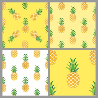 파인애플 원활한 패턴 컬렉션 집합