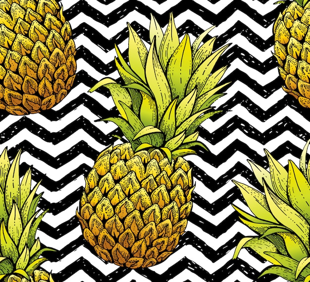 Pineapple seamless pattern, hand drawn doodle texture. textile print for apparel. handmade line ananas, grunge stripe background.