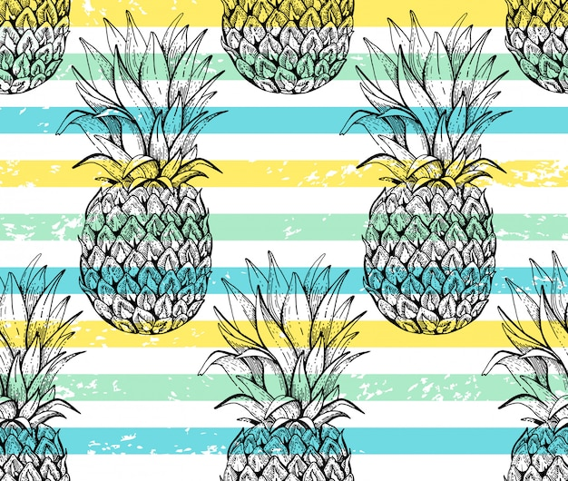 Pineapple seamless pattern, sketch doodle texture.