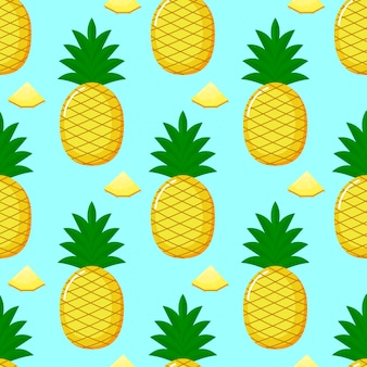 Pineapple seamless pattern and slices. summer fruit summer on blue background.