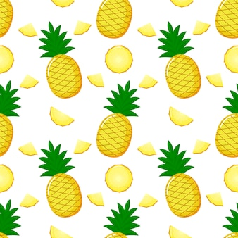 Pineapple seamless pattern and slices. summer fruit summer on white background.