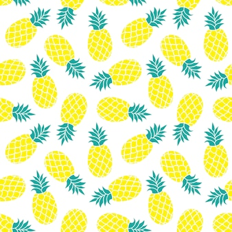 Pineapple seamless pattern. summer colorful  tropical textile print.