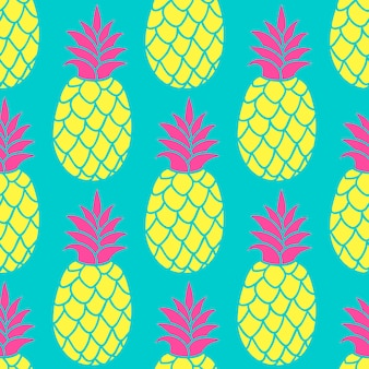 Pineapple seamless pattern in trendy colors.