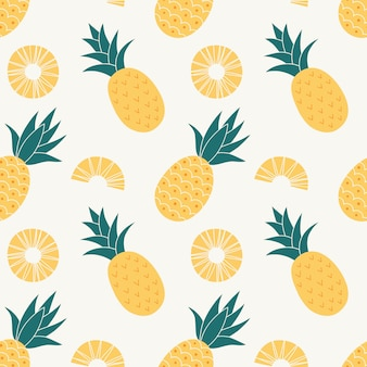 Pineapple seamless pattern, tropical ripe fruit.