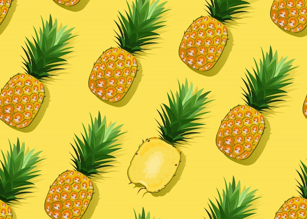 Pineapple seamless pattern whole and in longitudinal section
