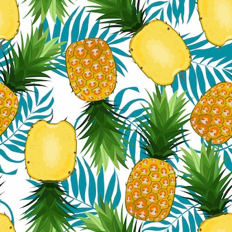 Pineapple seamless pattern whole and in slices with palm leaves. ananas fruits