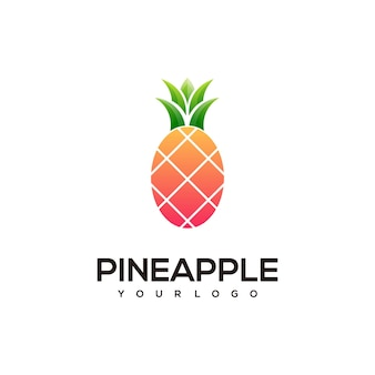 Pineapple simple logo color illustration