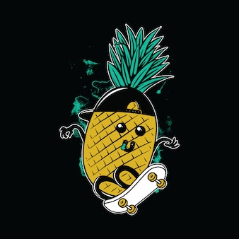 Pineapple skateboarding graphic illustration vector art t-shirt design