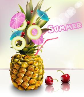 Pineapple summer fresh cocktail drink