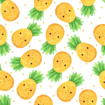 Pineapple summer seamless pattern in watercolor