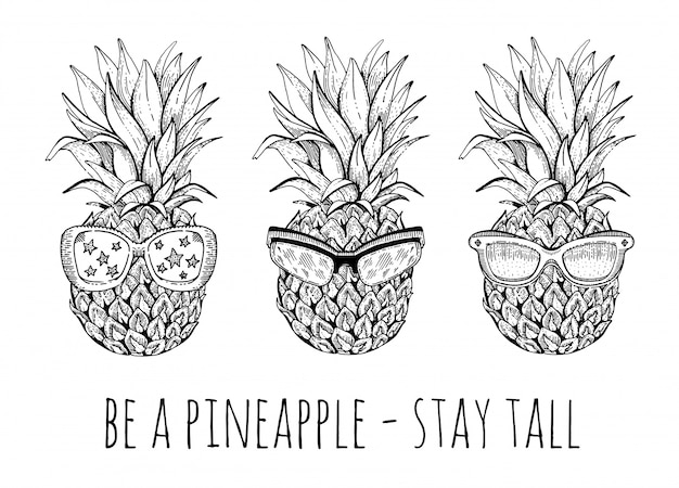 Pineapple in sunglasses set. sketch doodle pineapples print design.