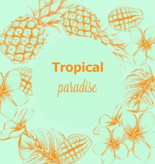 Pineapple and tropic flowers summer card