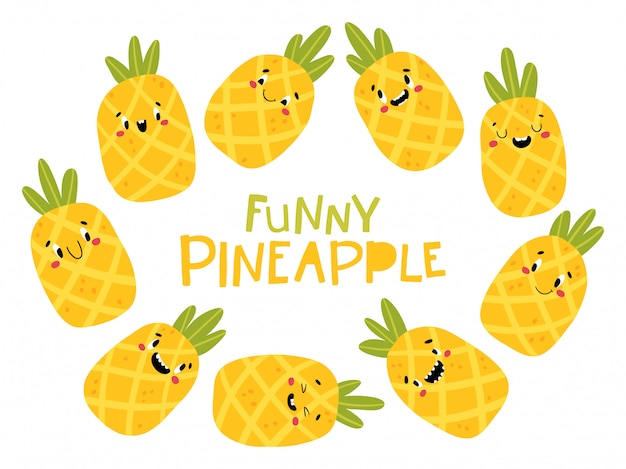 Pineapple tropical fruit collection. funny characters with happy faces. cartoon illustration in simple hand-drawn scandinavian style. ideal for printing baby products