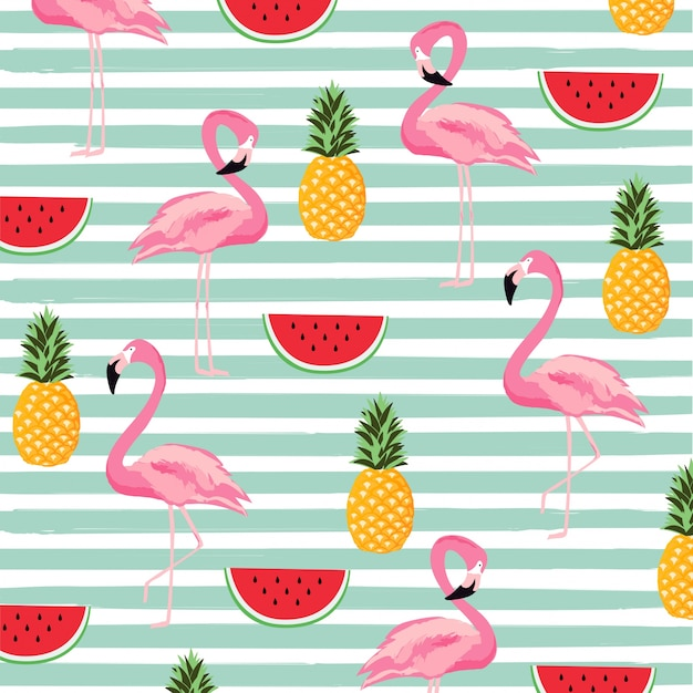 Pineapple, watermelon and flamingo with stripes seamless pattern background