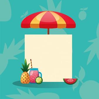 Pineapple, watermelon, lemon, juice and umbrella with frame.
