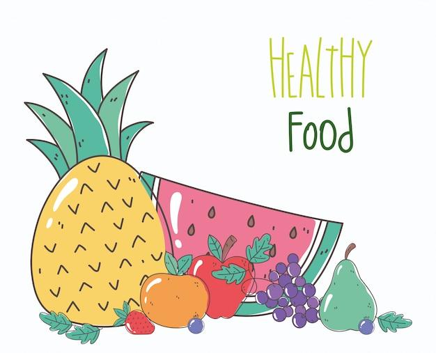Ананас арбуз апельсин фрукты органическая здоровая пища натуральная