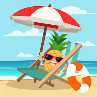 Pineapple wearing sunglasses under big umbrella at beach