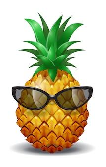 Pineapple wearing sunglasses. pineapple juice, tropical fruit