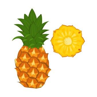 パイナップル、フルーツ全体、ウェッジ。健康的な食事、デザート、スナックのための甘い食べ物
