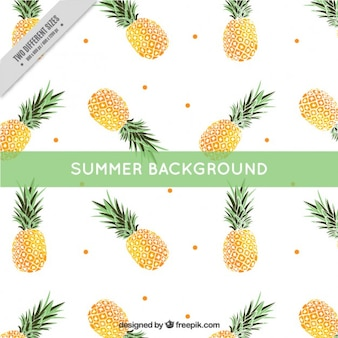 Pineapple with dots summer background