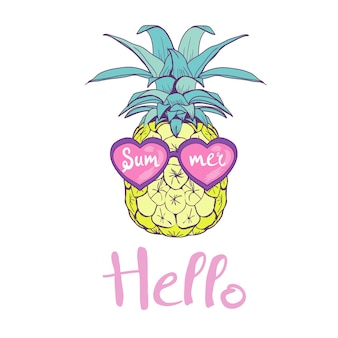 Pineapple with glasses design, exotic, background, food, fruit, illustration nature pineapple summer tropical.