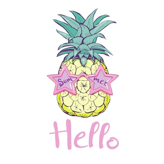 Pineapple with glasses design, exotic, background, food, fruit, pattern nature pineapple summer tropical drawing fresh