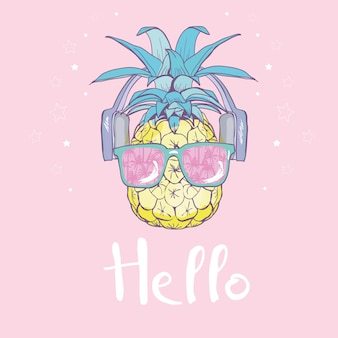 Pineapple with glasses illustration