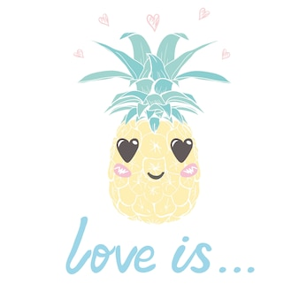 Pineapple with glasses tropical, vector, illustration, design, exotic, food, fruit