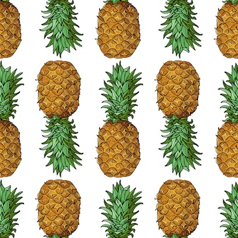 Pineapple with leaves.seamless pattern with tropical fruits on white background.bright summer  illustration.botanical art for prints,book covers, textile,fabric,wrapping gift paper.