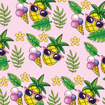 Pineapple with sunglasses and tropical plants background