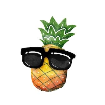 サングラス水彩夏のコンセプトとパイナップル。