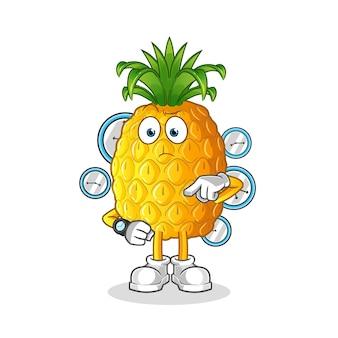 Pineapple with wristwatch cartoon