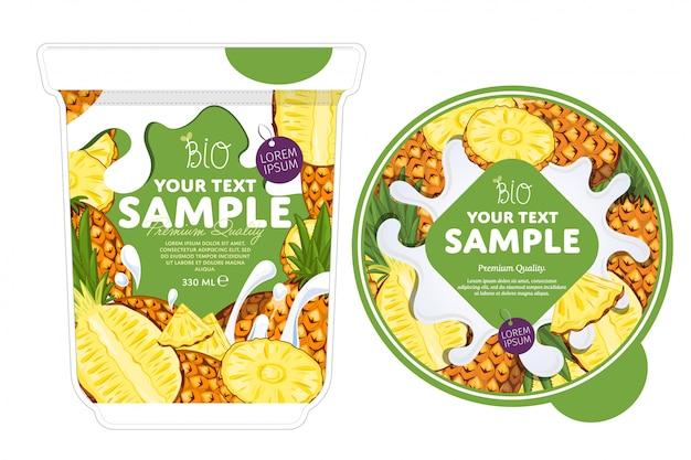 Pineapple yogurt packaging template.