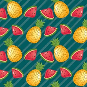 縞模様の背景にパイナップルとスイカの果実
