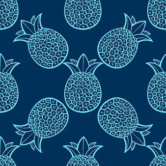 Pineapples are ripe, tropical with a black background. seamless vector pattern.