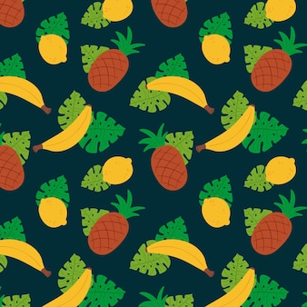 Pineapples and bananas fruit pattern template