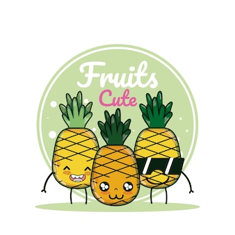 Pineapples cute fruits cartoons