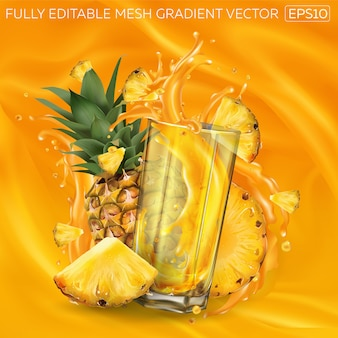 Pineapples and a glass of splashing juice on an orange background.