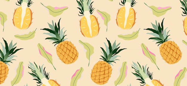 Pineapples and leaves on yellow seamless pattern. modern tropical exotic fruit design
