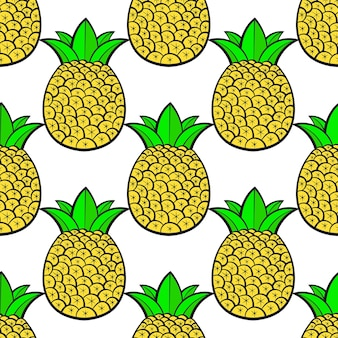 Pineapples ripe, tropical with white background. seamless vector pattern.