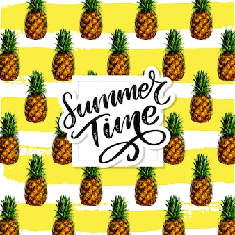 Pineapples seamless pattern , summer time lettering