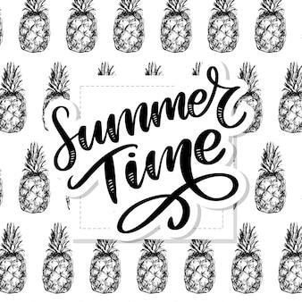 Pineapples seamless pattern, summertime lettering.