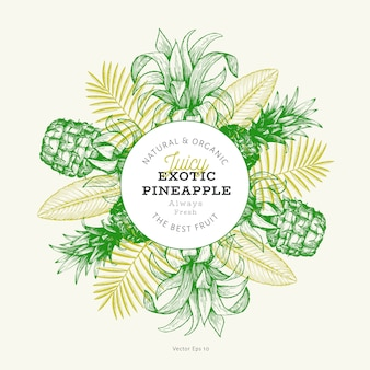 Pineapples and tropical leaves card with frame