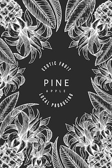 Pineapples and tropical leaves design template.