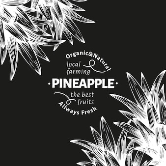 Pineapples and tropical leaves. hand drawn vector tropical fruit illustration on chalk board. engraved style ananas fruit