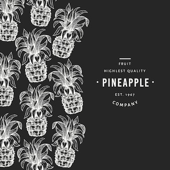 Pineapples and tropical leaves  template. hand drawn  tropical fruit illustration