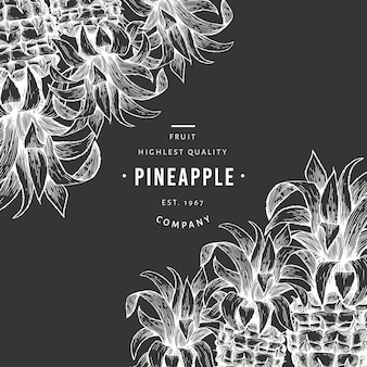 Pineapples and tropical leaves template.